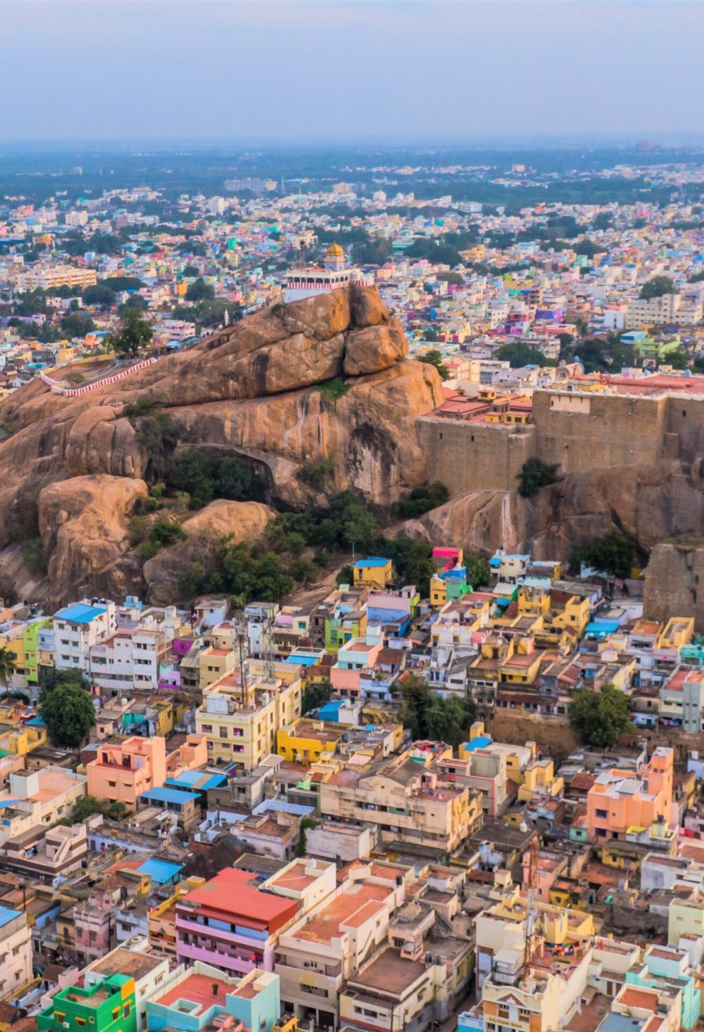 Rock fort in Trichy, India, aerial drone view